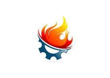 Logotipo del fuego de la llama del engranaje Fotografía de archivo libre de regalías