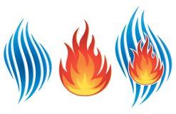 Logotipo del fuego del agua ilustración del vector