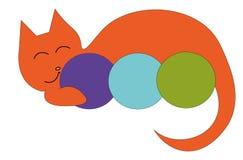 Logotipo del gato y del hilado ilustración del vector