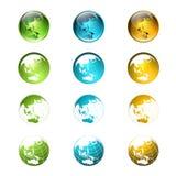 Logotipo del globo del mundo o colección multicolor del icono Fotos de archivo