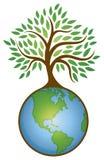 Logotipo del gráfico del árbol de la tierra Imagenes de archivo