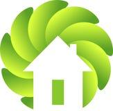 Logotipo del hogar de la hoja del círculo Foto de archivo libre de regalías