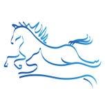 Logotipo del icono de la competencia de la carrera de caballos y del perro Foto de archivo libre de regalías