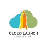Logotipo del icono del cohete del lanzamiento de la nube Fotografía de archivo libre de regalías