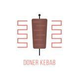 Logotipo del kebab de Doner aislado en el fondo blanco Foto de archivo libre de regalías