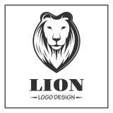 Logotipo del león en estilo monocromático en el fondo blanco Fotos de archivo libres de regalías