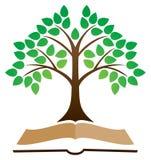 Logotipo del libro del árbol del conocimiento stock de ilustración