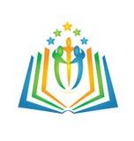 Logotipo del libro y del trabajo en equipo de los estudiantes Imágenes de archivo libres de regalías