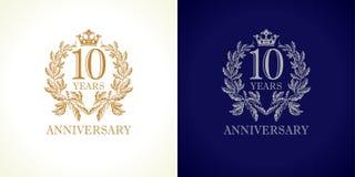 logotipo del lujo de 10 aniversarios Ilustración del Vector