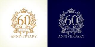 logotipo del lujo de 60 aniversarios libre illustration