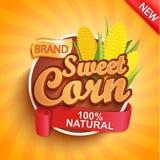 Logotipo del maíz fresco y dulce, etiqueta o etiqueta engomada imagenes de archivo