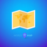 Logotipo del mapa del mundo con el indicador Fotos de archivo