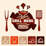 Logotipo del menú de la parrilla Imagenes de archivo