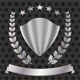 Logotipo del metal Escudo, estrellas, guirnalda del laurel y bandera Imagenes de archivo