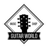 Logotipo del mundo de la guitarra con la cabeza del cuello de las guitarras stock de ilustración