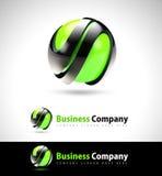 logotipo del negocio del verde 3D Fotografía de archivo libre de regalías
