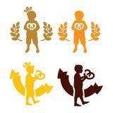 Logotipo del niño del rey de la galleta Imágenes de archivo libres de regalías
