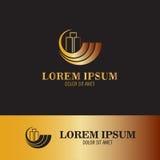 Logotipo del oro del negocio de Buidng Fotos de archivo