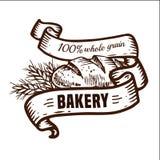 Logotipo del pan con las cintas Fotos de archivo libres de regalías