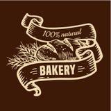 Logotipo del pan con las cintas Imagen de archivo libre de regalías