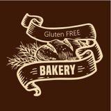 Logotipo del pan con las cintas Imágenes de archivo libres de regalías