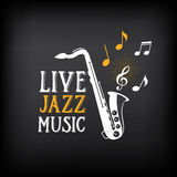 Logotipo del partido de la música de jazz y diseño de la insignia Vector con el gráfico Fotos de archivo