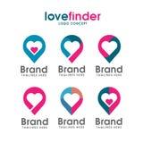 Logotipo del perno del amor, logotipo del buscador del amor Imágenes de archivo libres de regalías