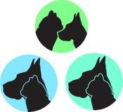 Logotipo del perro y del gato en la variación tres Fotos de archivo libres de regalías