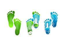 Logotipo del pie, pies verdes del símbolo de diseño de concepto stock de ilustración