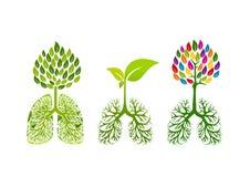 Logotipo del pulmón, diseño de concepto sano de la respiración stock de ilustración