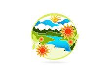 Logotipo del río, símbolo de la hoja de la flor, icono de la montaña de la naturaleza, diseño de concepto del paisaje stock de ilustración