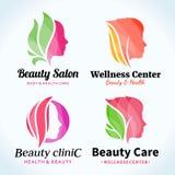 Logotipo del salón de belleza, iconos y elementos del diseño