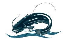 Logotipo del siluro de la pesca del ejemplo en el fondo blanco ilustración del vector