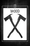 Logotipo del silvicultor de la artesanía en madera con el fondo Foto de archivo libre de regalías