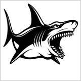 Logotipo del tibur?n para un equipo de deporte en blanco Ilustraci?n del vector ilustración del vector