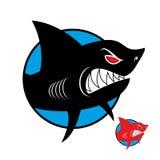 Logotipo del tiburón Tiburón enojado en círculo Logotipo del vector para el equipo de deportes Fotos de archivo