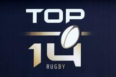 Logotipo del top 14 del rugbi en Francia imagenes de archivo