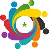 Logotipo del trabajo en equipo ilustración del vector