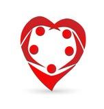 Logotipo del trabajo en equipo del corazón Imagen de archivo libre de regalías