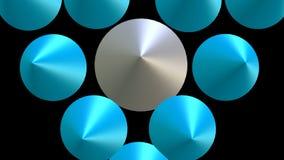 logotipo del triángulo 3d integrado por el grupo azul y blanco que se mueve en el espacio, fondo negro del cono libre illustration