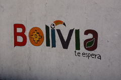 Logotipo del turismo de Bolivia Hotel de Eco de los flamencos del Los Laguna Hedionda Departamento de Potosà bolivia Fotografía de archivo libre de regalías
