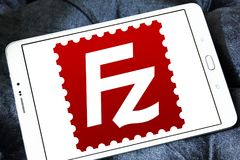 Logotipo del uso de FileZilla imágenes de archivo libres de regalías