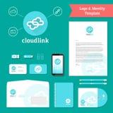 Logotipo del vínculo de la nube y plantilla de la identidad Imagen de archivo