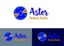 Logotipo del vector azul y anaranjado del aster del centro médico de concepto del diseño Foto de archivo