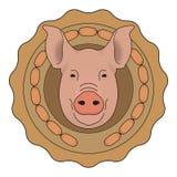Logotipo del vector de la carnicería Cabeza del cerdo con las salchichas de Frankfurt color Imagenes de archivo