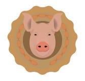 Logotipo del vector de la carnicería Cabeza del cerdo en círculo de las salchichas de Frankfurt Imagenes de archivo