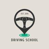 Logotipo del vector de la escuela de conducción del automóvil, muestra, emblema Foto de archivo