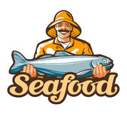 Logotipo del vector de la industria pesquera pesca, pescados o pescador, icono del pescador ilustración del vector