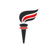 Logotipo del vector de la llama de la antorcha stock de ilustración