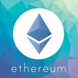 Logotipo del vector de la moneda del cripto de Ethereum Foto de archivo